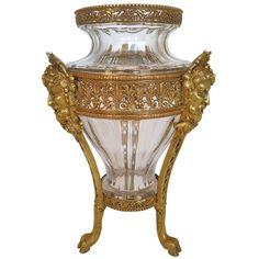 19th Century French Gilt Bronze and Crystal Vase with Bacchus Masks | From a unique collection of antique and modern vases at http://www.1stdibs.com/furniture/dining-entertaining/vases/