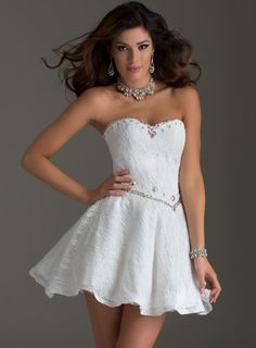 Glamour White Sweetheart Beading Lace-Up Short Homecoming Dress