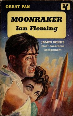 """""""Moonraker"""", the eleventh James Bond film in the official EON series, opened in the UK on June It was directed by Lewis Gilbert . James Bond Books, James Bond Movies, Pulp Fiction Art, Science Fiction Books, Pulp Art, Casino Royale, Book Cover Art, Book Art, Book Covers"""