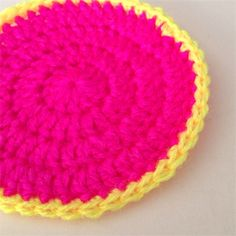 Crochet Coasters in Hot Pink and Neon Yellow - Set of 4 | Boutique Creations | madeit.com.au