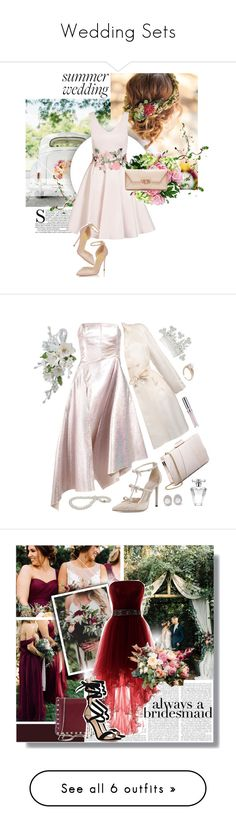 """Wedding Sets"" by virginia-laurie ❤ liked on Polyvore featuring Quiz, Nearly Natural, Tory Burch, Osman, René Caovilla, Ermanno Scervino, Kenneth Jay Lane, Avon, Jennifer Behr and Chantecaille"