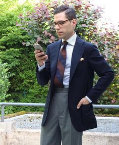 Shibumi - handmade ties & other accessories - made — @tmhbrl wearing our navy/brown block stripe silk...
