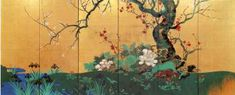 Suzuki Kiitsu「四季花木図屏風」 鈴木其一 六曲一双 右隻