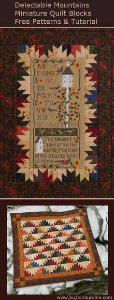 BuzzinBumble: Delectable Mountains - Paper Pieced Miniature Quilt - Four Free Patterns and a Tutorial