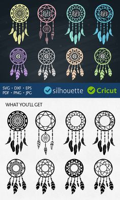 Boho svg monogram frames Dream Catcher svg clipart cut files Heat Press Transfer Feathers svg Vinyl Design decal jpg dxf Silhouette files