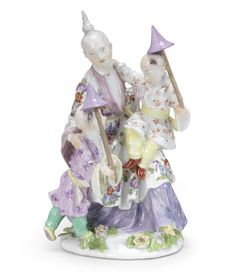 A Meissen Chinoiserie group of a family, mid 18th century