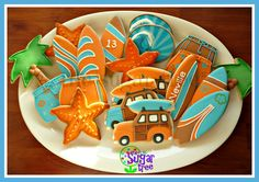 Surfer/beach party cookies