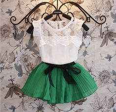 New Girl's Clothing Sets Vestido Set + Short Camiset … - Moda Infantil Bow Skirt, Skirt Set, Chiffon Skirt, Lace Chiffon, Shirt Skirt, Dress Set, Pleated Skirts, Mini Skirt, Lace Dress
