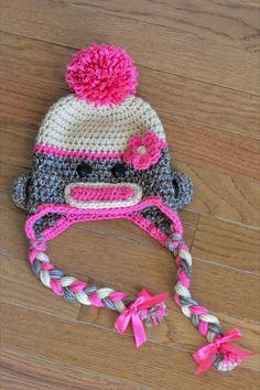 SALE Crochet Sock Monkey Hat 03  36 612 months by PeasandQuiet, $18.00