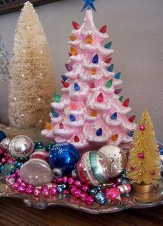 SaturdayFinds - ceramic tree- pink...Oh....La...La....and bottle brush trees