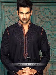 Pakistani wedding shalwar kurta suit for groom in black colour