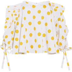 Caroline Constas Gabriella off-the-shoulder polka-dot cotton top (1.860 RON) ❤ liked on Polyvore featuring tops, blouses, caroline constas, shirts, yellow, white off the shoulder top, white shirt, white off the shoulder blouse, white cotton blouse and white fitted shirt
