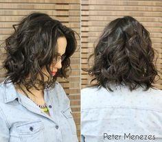 Medium-length messy bob hairstyle