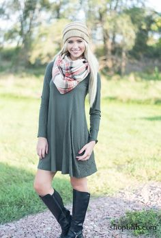 You got this! Yes wearing this long sleeve Aline dress you can accomplish anything that is put in front of you. We love the Plaid Blanket Scarf layered, as well to make it look even cozier to add a beanie hat.