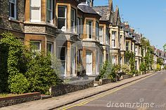 Row of terrace house in typical English street.