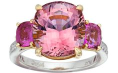 Pink Tourmaline, Pink Sapphire, Diamond, Gold, Platinum Ring, Paolo Costagli