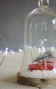 DIY Car & Tree Terrarium {City Farmhouse} - Add a terrarrium and put on a tree slice. Christmas Truck, Noel Christmas, Merry Little Christmas, Rustic Christmas, All Things Christmas, Winter Christmas, Vintage Christmas, Xmas, Cloche Decor