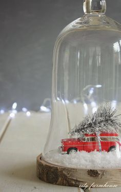 I might have to do this with a VW Bus!   DIY Car & Tree Terrarium {City Farmhouse}