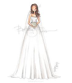 summer bride   summer wedding   princess dress   lace details   fashion illustration   Brittany Fuson