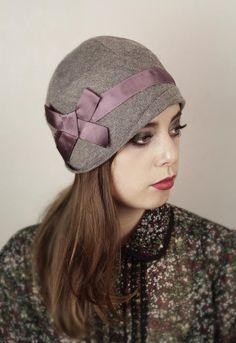 """Tweed Herringbone 100% Wool """"Georgie"""" Cloche"""