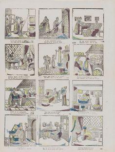 Lutkie & Cranenburg   Vrouwelijke bezigheden, Lutkie & Cranenburg, Anonymous, 1848 - 1881   Blad met 12 voorstellingen van verschillende bezigheden voor vrouwen, zoals schoonmaken, koken en spinnen. Onder elke voorstelling een tweeregelig vers. Genummerd rechtsonder: 118.