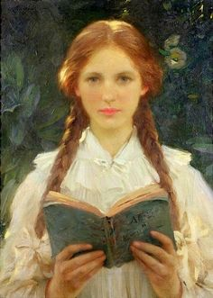 'Ragazza con trecce' di Sir Samuel Henry William Llewellyn (1858 – 1941)