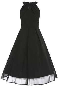 {Elegant Round Collar Little Black Dress}
