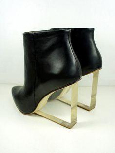 Wedge Heel Boots with Transparent Heels