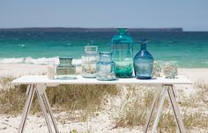 Glass jars and vases from my Watermark range. Coastal home inspiration. Tara Dennis.