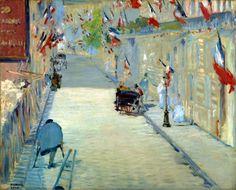 """La Rue Mosnier con Banderas es un cuadro del impresionismo francés, pintado por Édouard Manet en 1878.  La obra representa el paisaje que veía el propio pintor desde su apartamento, el día 30 de junio, el cual se había declarado recientemente como festivo nacional del """"Día de la paz"""". Un periodo de prosperidad después de tiempos convulsos en la sociedad francesa. Atrás quedaba la sangrienta Guerra franco-prusiana y la división de París, que asolaban a Francia hace menos de una década."""