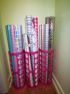 Awesome Freckles Chick: Corralling Closet Clutter: Over The Door Giftwrap Storage.  She Used A Wallmart $17 Over The Door Pantry Organizer. | Pinterest