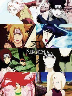 Sakura, Tenten, Temari, Hinata, Rin, Kurenai, Kushina, Tsunade. #naruto