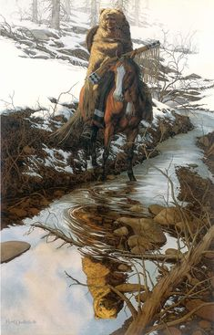Bev Doolittle - Spirit of the Grizzly.  Reflection depicts grizzly only...is difficult to see in this format.