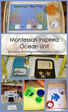 Montessori-Inspired Ocean Unit - the Subtract the Fish Tray uses Goldfish crackers to practice math