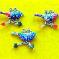 Mosaic Fantasy Millefiori Blue Bird Brooch of by valnorthwoods