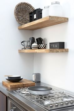 Modern wood shelf designs favorites rustic open shelving in the kitchen kitchens kitchen shelves home decor Kitchen Interior, New Kitchen, Kitchen Decor, Kitchen Small, Kitchen Ideas, Design Kitchen, Dutch Kitchen, Space Kitchen, Stylish Kitchen