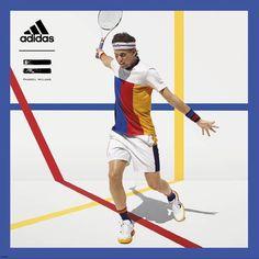 d9c63cda4 Pharrell for Adidas tennis. Colorblock. Primary Colors. Tennis Fashion