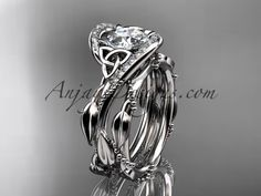 "14kt white gold celtic trinity knot engagement set, wedding ring with ""Forever One"" Moissanite center stone CT764S"