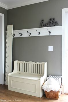 Easy entryway coat rack for a mudroom! | 100+ Beautiful Mudrooms and Entryways at Remodelaholic.com