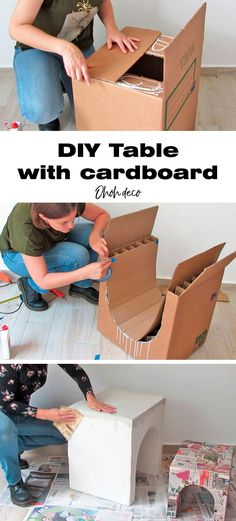 Make a coffee table or a side table using cardboard. Recycle cardboard boxes into trending arched tables. These DIY tables are simple and cheap to make. You only need simple tools (scissors and cutter), cardboard, paper, and glue! I show you how to build a table out of a cardboard box, click to start!