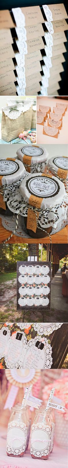 Ideas DIY para hacer con blondas / www. Diy Wedding, Dream Wedding, Wedding Stuff, Fiesta Party, Diy Christmas Gifts, Diy Gifts, Projects To Try, Baby Shower, Table Decorations