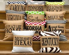 """Burlap Pillows & Pillow Wraps - Southern Style. Paulette in Lafayette (yes, her name rhymes with her hometown!) has 2 of our """"Southern State of Mind"""" Burlap Pillow Wraps on their way to her. She has one already but loved it so much that she's getting more for her daughters!"""