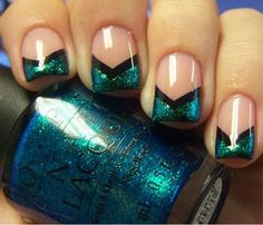 Teal Glitter Funky French Tips!