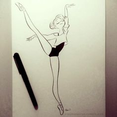 Ballerina line drawing by Elsa Chang. Dancing Drawings, Cute Drawings, Drawing Sketches, Drawings Of Ballerinas, Cute People Drawings, Drawing Ideas, Ballet Drawings, Drawing People, Cartoon Drawings