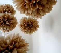 The Kraft Project ... 10 tissue paper poms // DIY // wedding decorations // indie // anniversary // housewarming party // gift. $35.00, via Etsy.