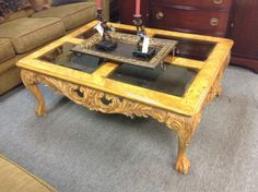 Coffee Table - This coffee table features lots of carving.   Really interesting piece .  48 inches by 36 inches.  Item 715-1.   Price $125.00   - http://takeitorleaveit.co/2014/12/19/coffee-table-11/