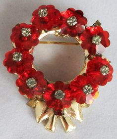 Vintage jewelry brooch red crystal and clear by DevineCollectible, $75.00