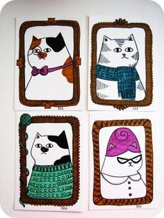 Draw them using sharpies or micron pens, then color them in with markers. Too cute!