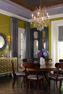 Chartreuse with purple-grays. I have to admit I would never have thought to use chartreuse and purple-gray together, but I really dig this palette. It's unusual and very eye catching. Sherwin-Williams: Stunning Shade, Light French Gray and Frolic.