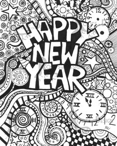 INSTANT DOWNLOAD Coloring Page Happy New Year Art by RootsDesign